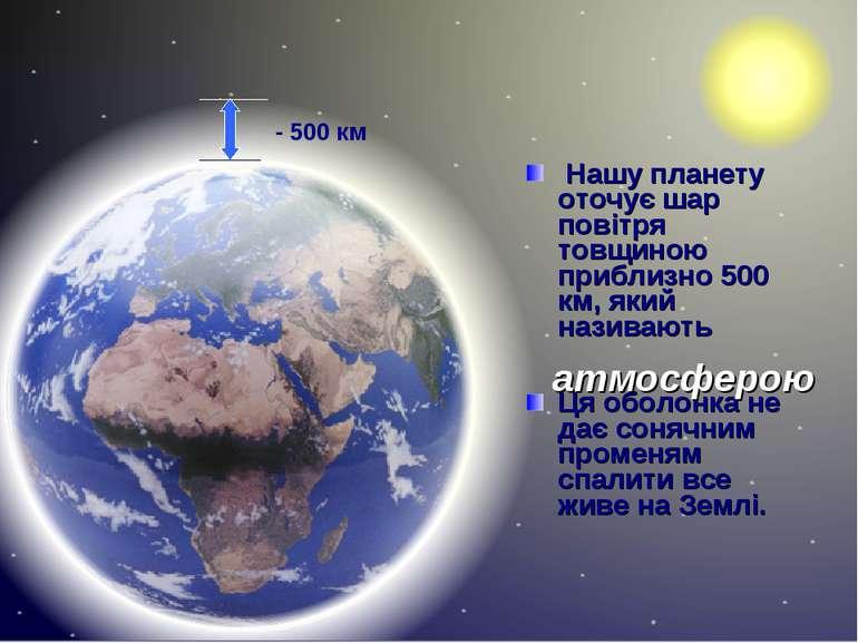 Нашу планету оточує шар повітря товщиною приблизно 500 км, який називають Ця ...