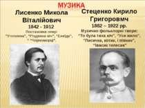 """Лисенко Микола Віталійович 1842 - 1912 Постановка опер: """"Утоплена"""", """"Різдвяна..."""