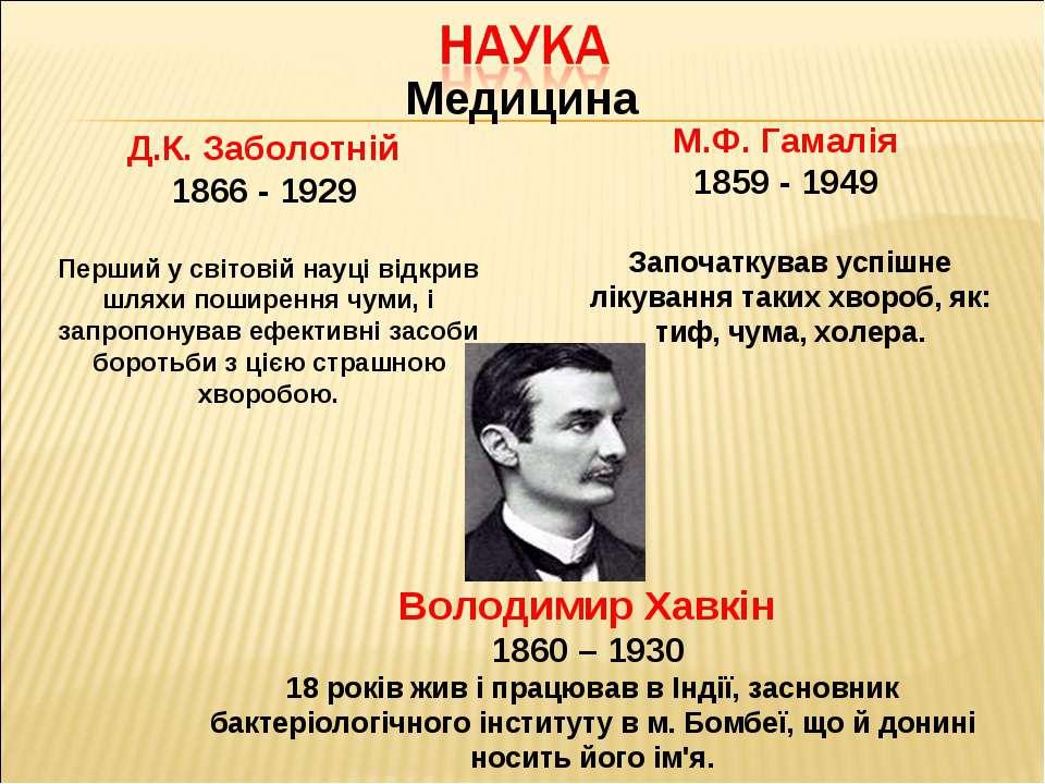 Медицина Д.К. Заболотній 1866 - 1929 Перший у світовій науці відкрив шляхи по...