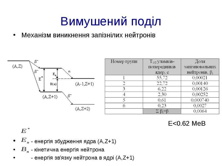 Вимушений поділ Механізм виникнення запізнілих нейтронів E