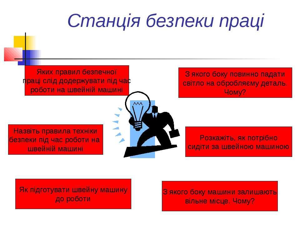 Станція безпеки праці Назвіть правила техніки безпеки під час роботи на швейн...