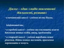Діалог – один з видів мовленнєвої діяльності, розвиває: в початковій школі – ...