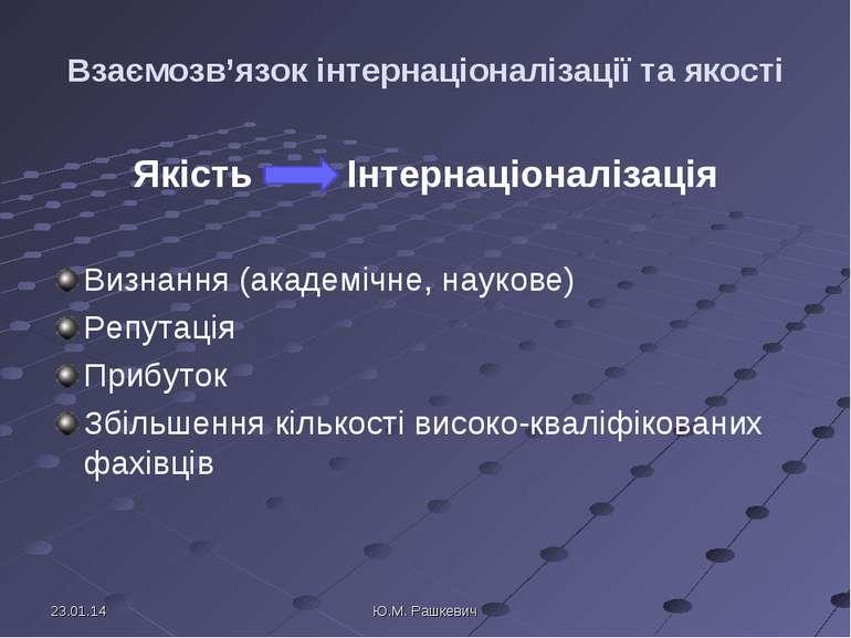 Взаємозв'язок інтернаціоналізації та якості Якість Інтернаціоналізація Визнан...