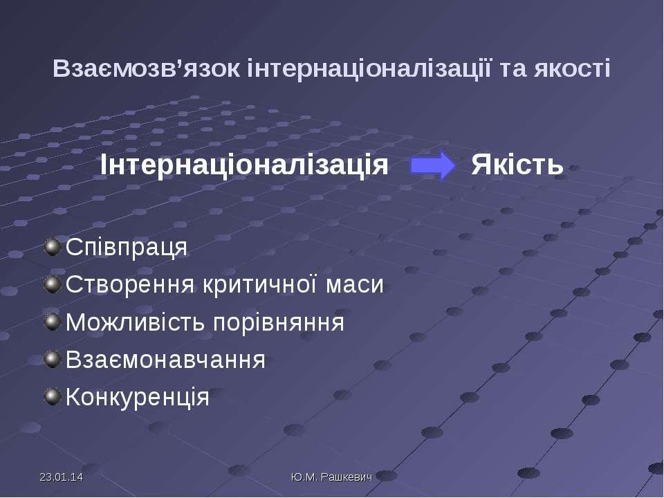 Взаємозв'язок інтернаціоналізації та якості Інтернаціоналізація Якість Співпр...