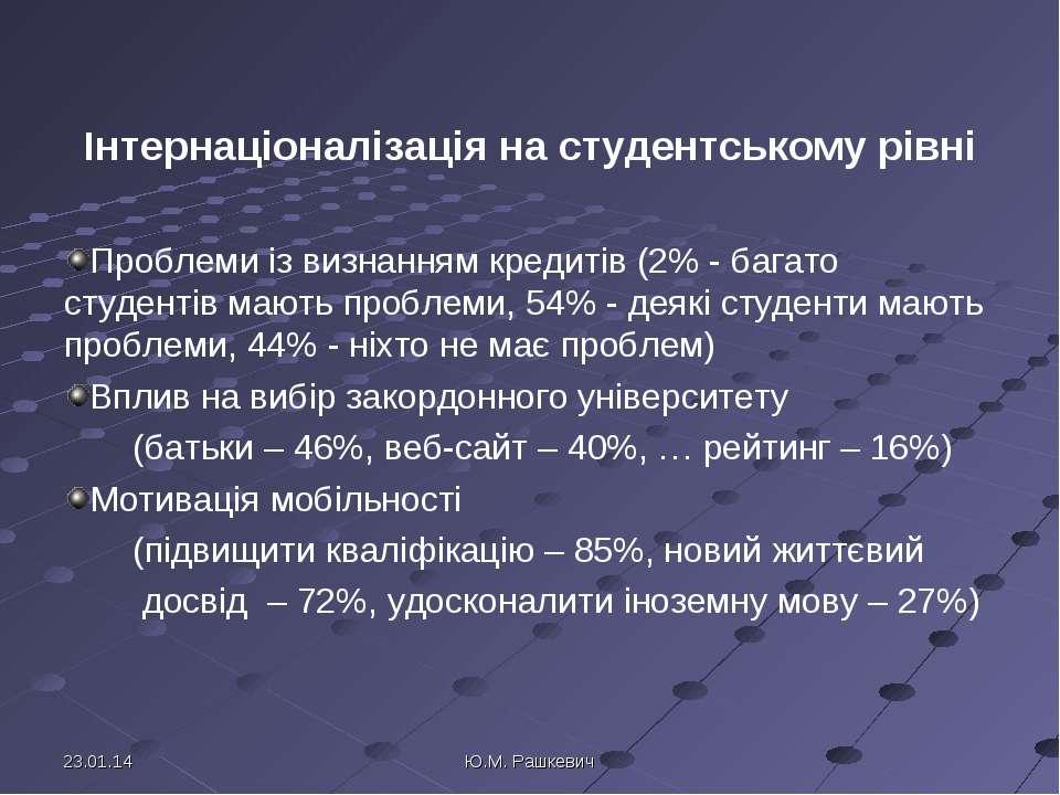 Інтернаціоналізація на студентському рівні Проблеми із визнанням кредитів (2%...