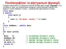 Поліморфізм та віртуальні функції. Похідні класи мають з базовим класом зв'яз...
