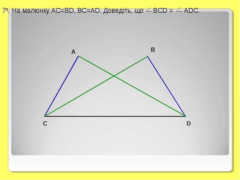 73. На малюнку AC=BD, BC=AD. Доведіть, що BCD = ADC.