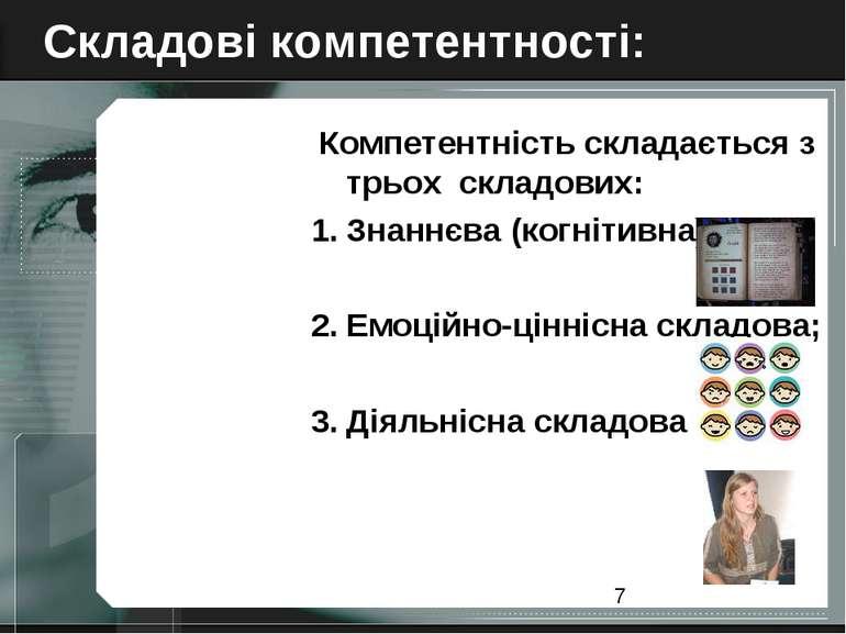 Складові компетентності: Компетентність складається з трьох складових: Знаннє...
