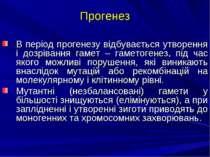 Прогенез В період прогенезу відбувається утворення і дозрівання гамет – гамет...
