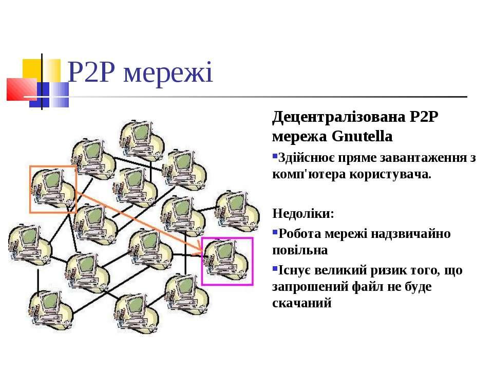 P2P мережі Децентралізована P2P мережа Gnutella Здійснює пряме завантаження з...