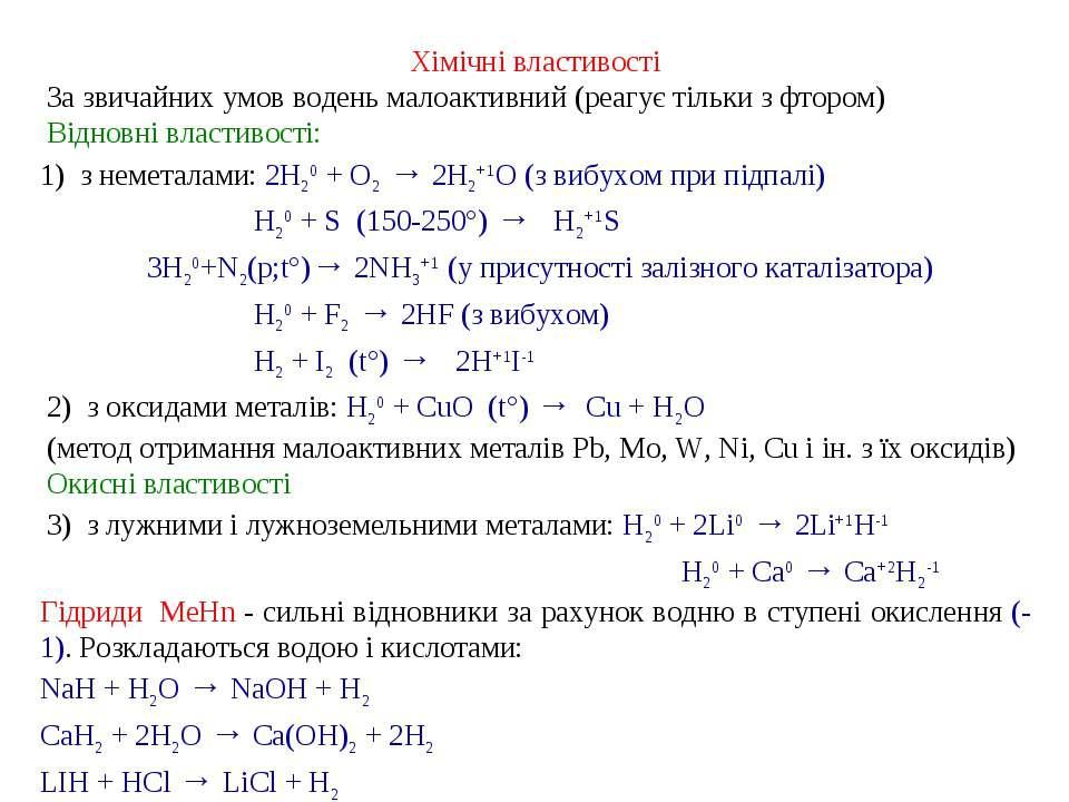 Хімічні властивості За звичайних умов водень малоактивний (реагує тільки з ф...