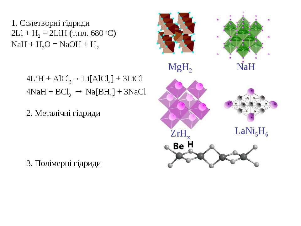 1. Солетворні гідриди 2Li + H2 = 2LiH (т.пл. 680 оС) NaH + H2O = NaOH + H2 4L...
