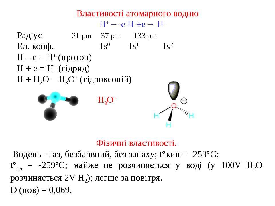 Властивості атомарного водню H+←-е H +е→ H– Радіус 21 pm 37 pm 133 pm Ел. кон...