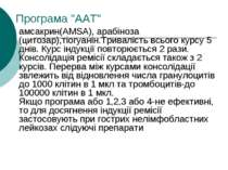 """Програма """"ААТ"""" амсакрин(AMSA), арабіноза (цитозар),тіогуанін.Тривалість всьог..."""