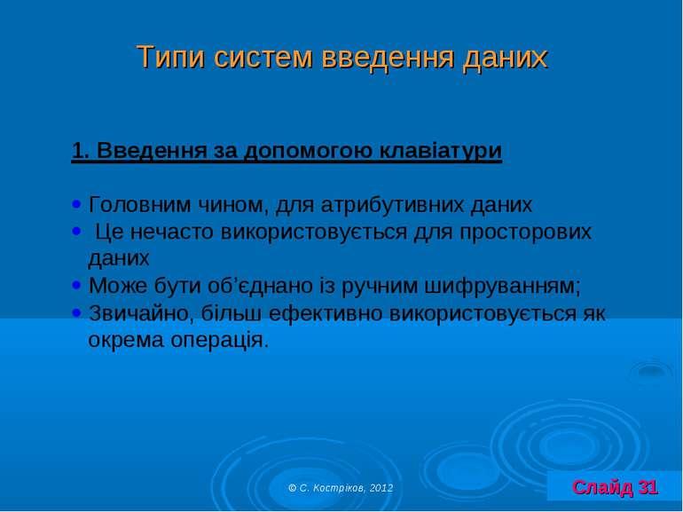 Типи систем введення даних © С. Костріков, 2012 Слайд 31