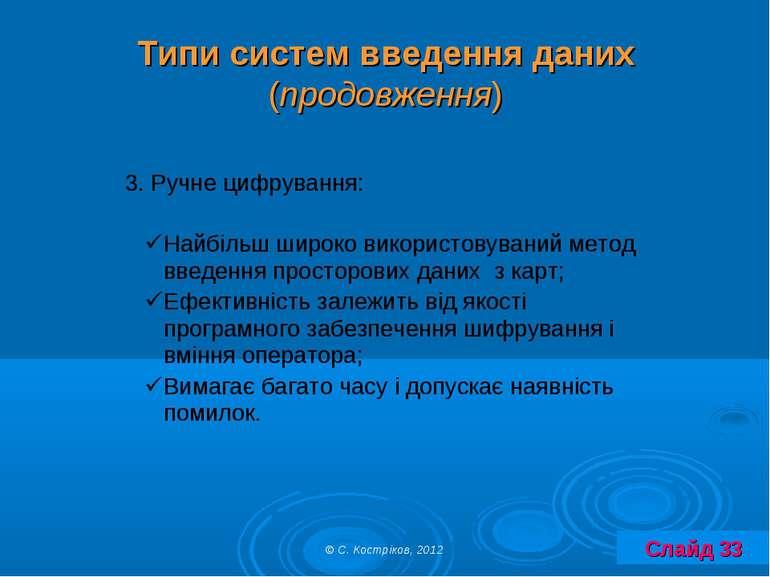 Типи систем введення даних (продовження) Слайд 33 © С. Костріков, 2012