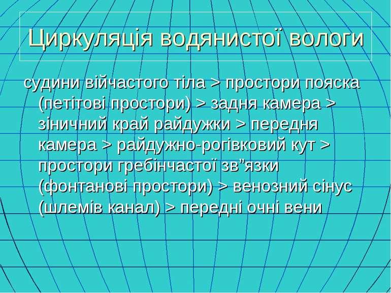 Циркуляція водянистої вологи судини війчастого тіла > простори пояска (петіто...