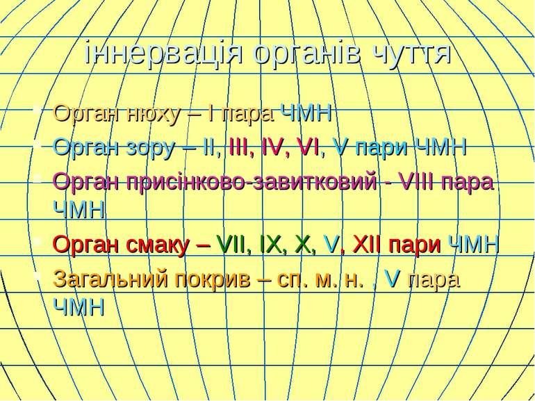 іннервація органів чуття Орган нюху – I пара ЧМН Орган зору – II, III, IV, VI...