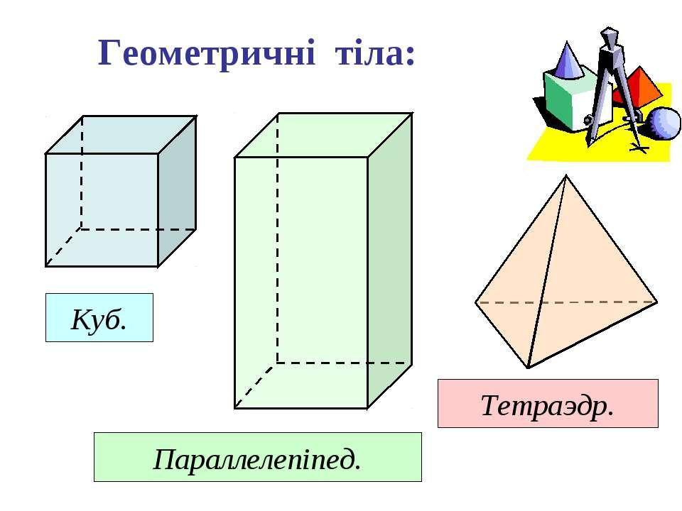 Геометричні тіла: Куб. Параллелепіпед. Тетраэдр.