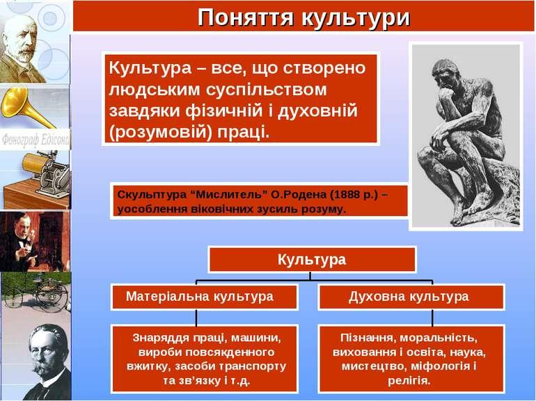 Поняття культури Культура – все, що створено людським суспільством завдяки фі...