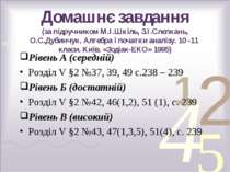 Домашнє завдання (за підручником М.І.Шкіль, З.І.Слєпкань, О.С.Дубинчук. Алгеб...