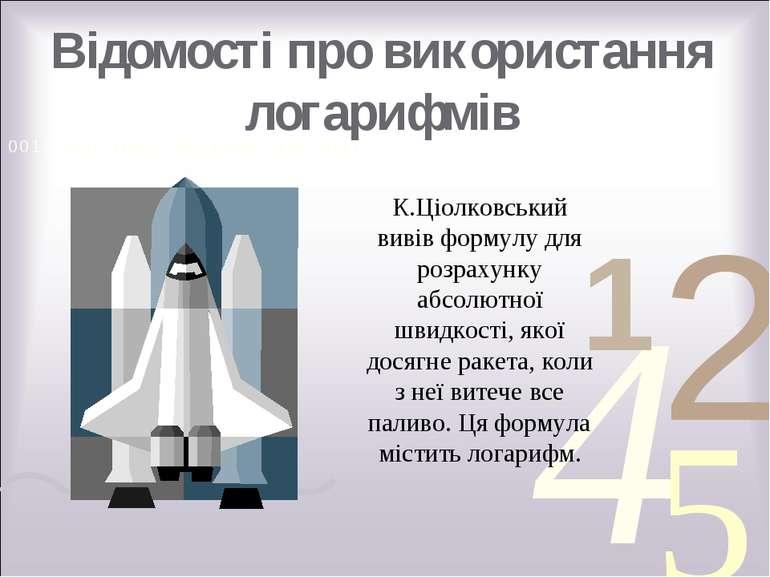 Відомості про використання логарифмів К.Ціолковський вивів формулу для розрах...