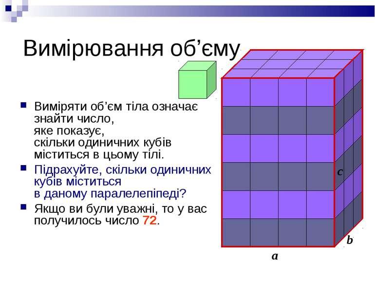 Вимірювання об'єму Виміряти об'єм тіла означає знайти число, яке показує, скі...