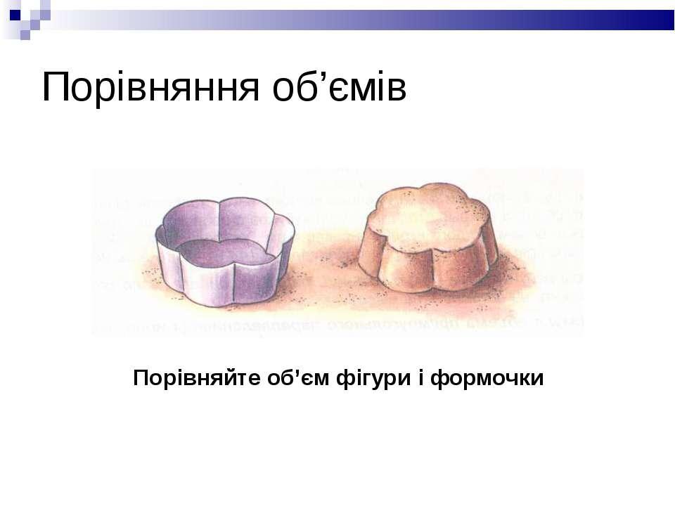Порівняння об'ємів Порівняйте об'єм фігури і формочки