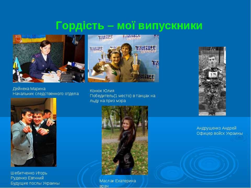 Гордість – мої випускники Дейнека Марина Начальник следственного отдела Конюк...