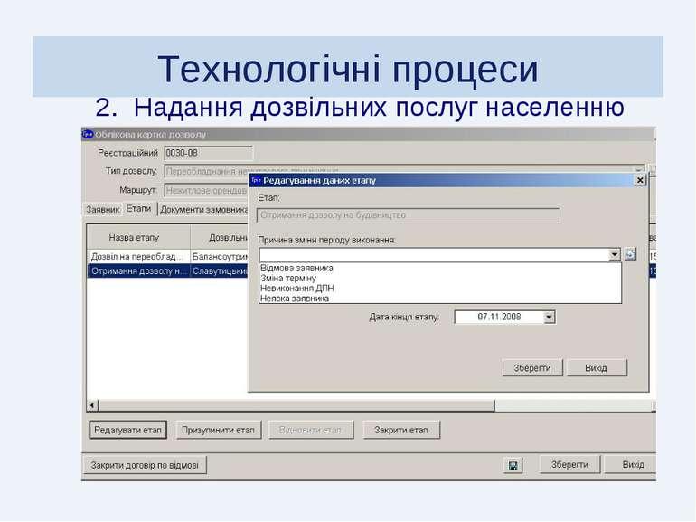 Технологічні процеси 2. Надання дозвільних послуг населенню