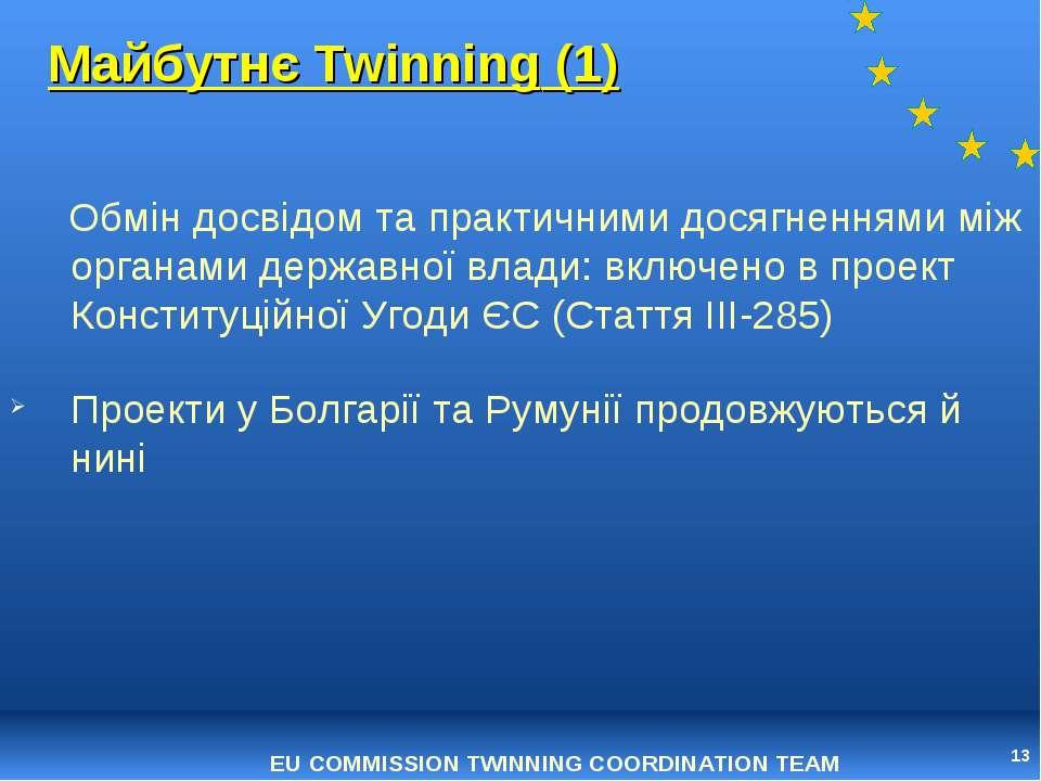 * Майбутнє Twinning (1) Обмін досвідом та практичними досягненнями між органа...