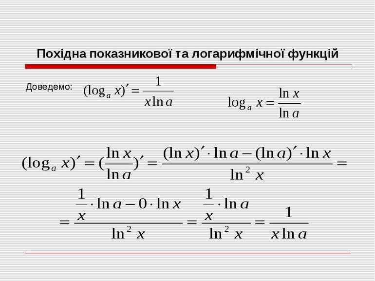 Похідна показникової та логарифмічної функцій Доведемо: