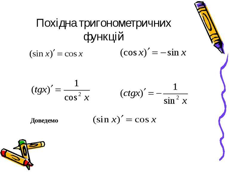 Похідна тригонометричних функцій Доведемо