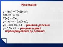 Розв'язання y = f(x0) +f '(x0)(x-x0), f (x0) = -x02+4, f '(x0) = -2x0, y= -x0...