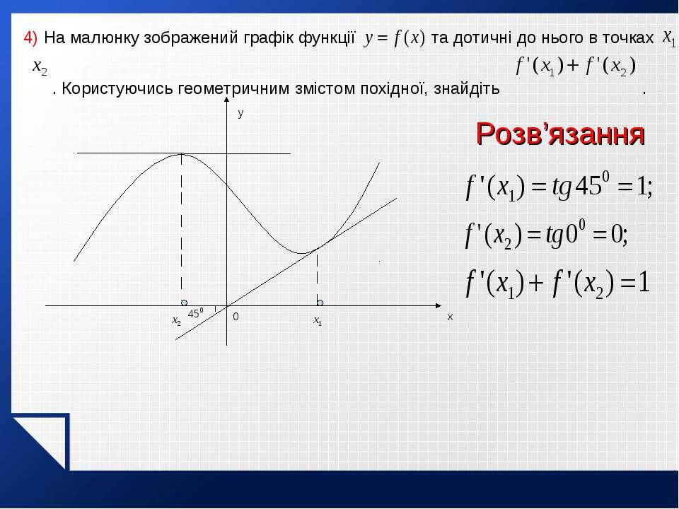 4) На малюнку зображений графік функції та дотичні до нього в точках . Корист...