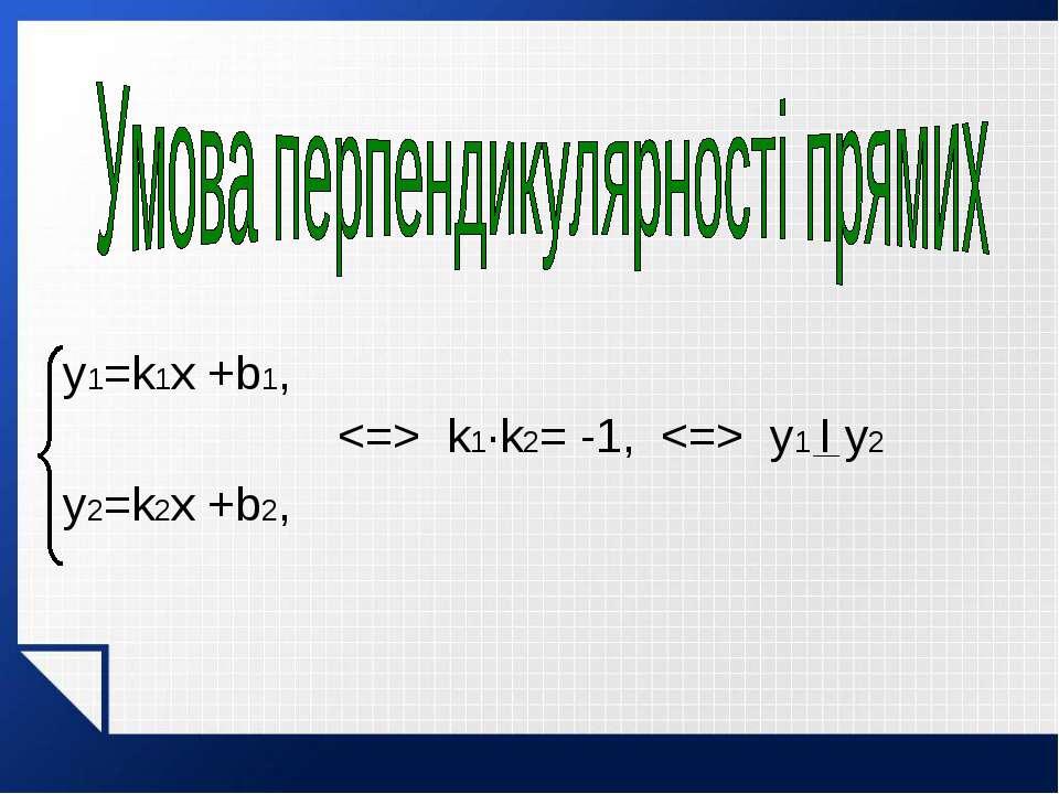 y1=k1x +b1, k1·k2= -1, y1 I y2 y2=k2x +b2,