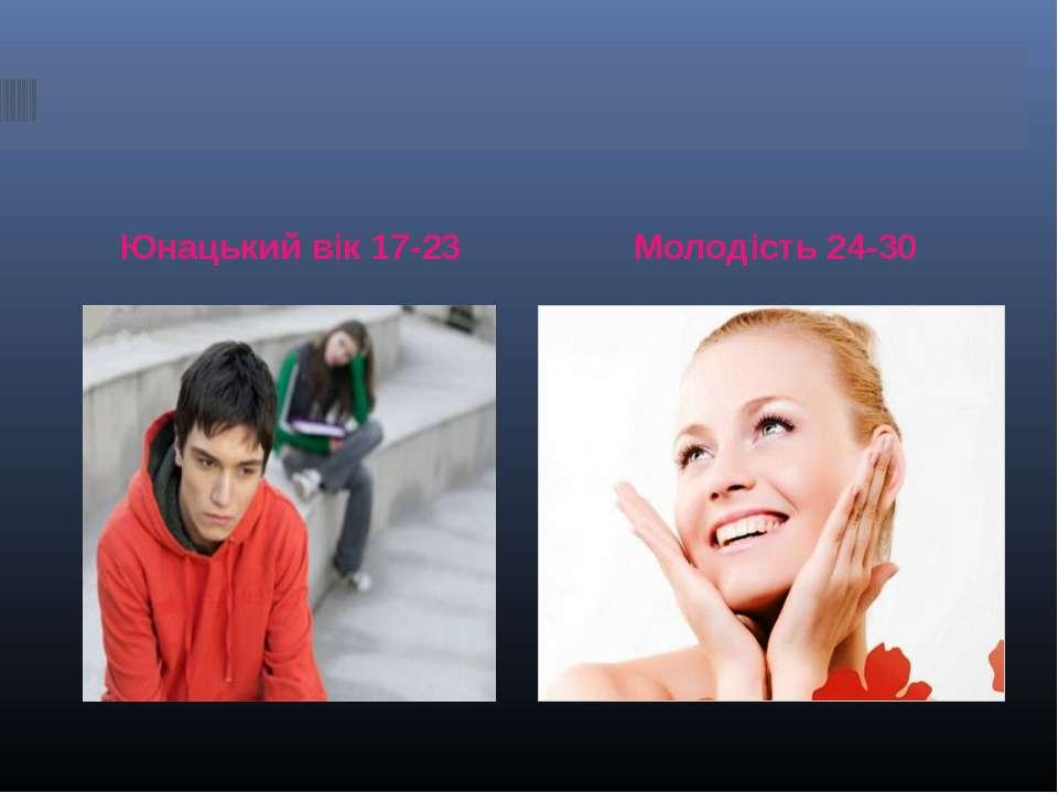 Юнацький вік 17-23 Молодість 24-30