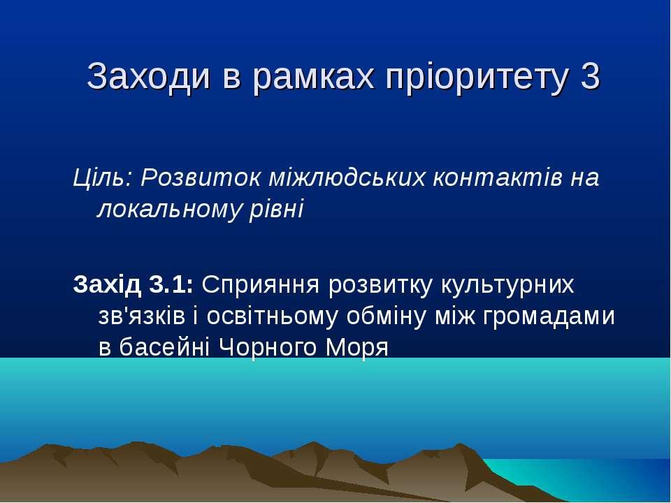 Заходи в рамках пріоритету 3 Ціль: Розвиток міжлюдських контактів на локально...