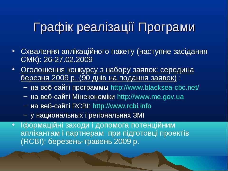Графік реалізації Програми Схвалення аплікаційного пакету (наступне засідання...