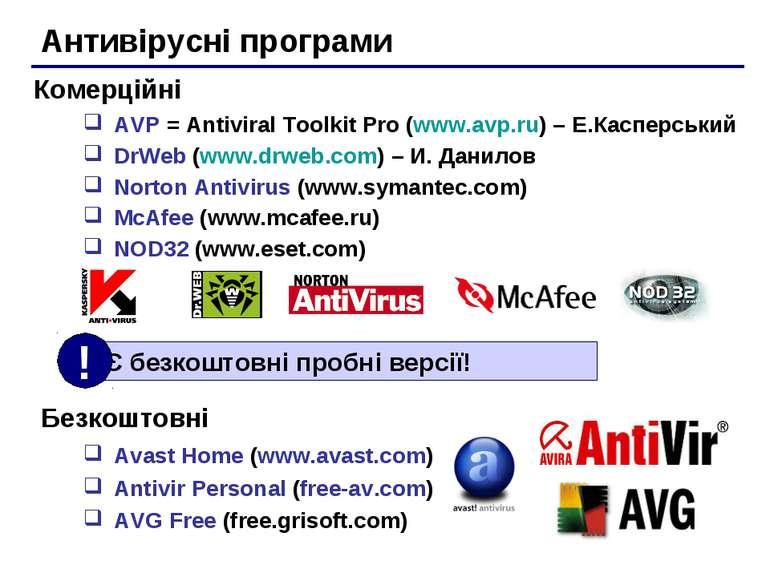 Антивірусні програми AVP = Antiviral Toolkit Pro (www.avp.ru) – Е.Касперський...