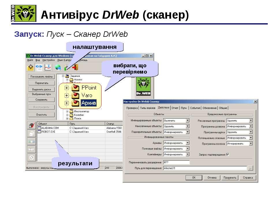 Антивірус DrWeb (сканер) Запуск: Пуск – Сканер DrWeb старт налаштування вибра...