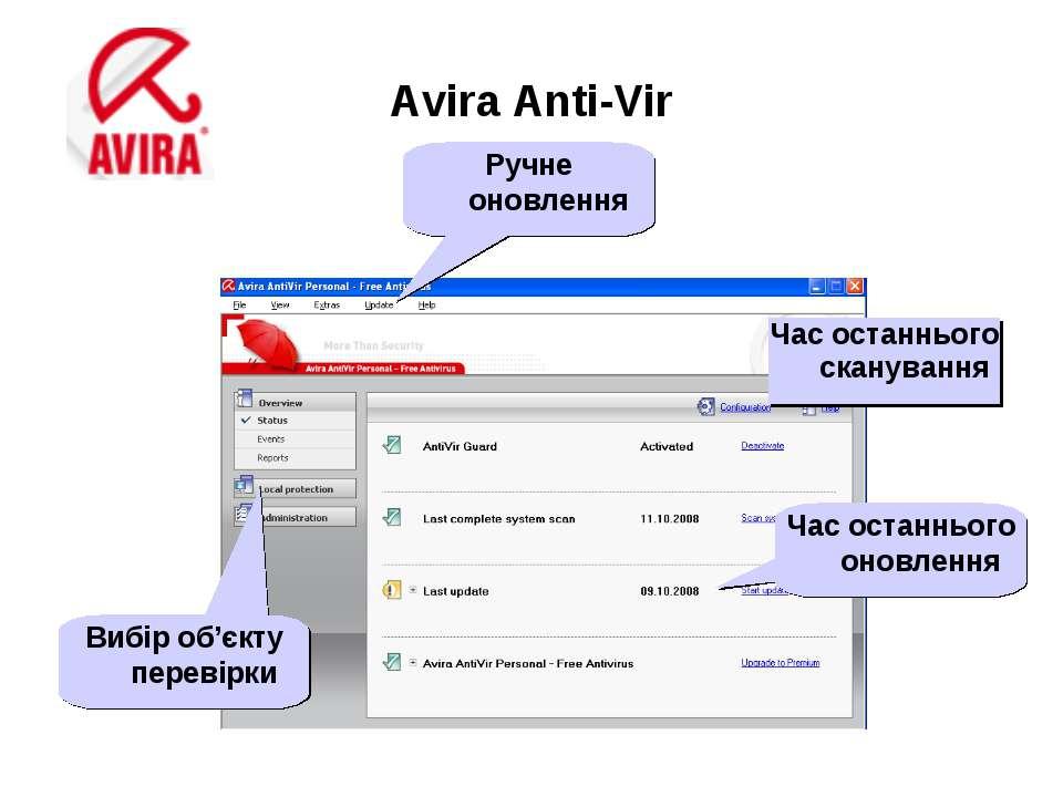 Avira Anti-Vir Час останнього сканування Час останнього оновлення Вибір об'єк...