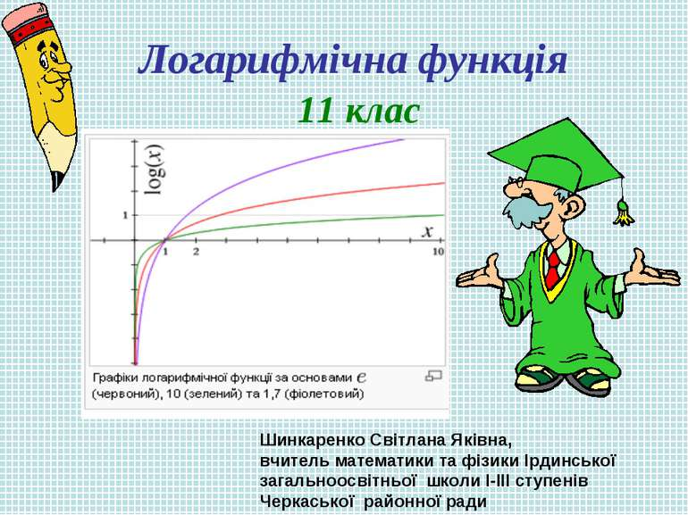 Логарифмічна функція 11 клас Шинкаренко Світлана Яківна, вчитель математики т...