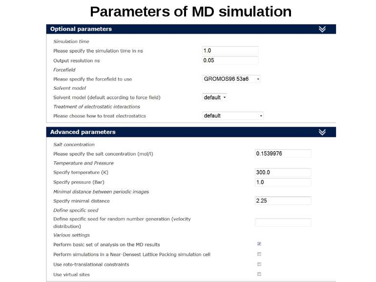 Parameters of MD simulation