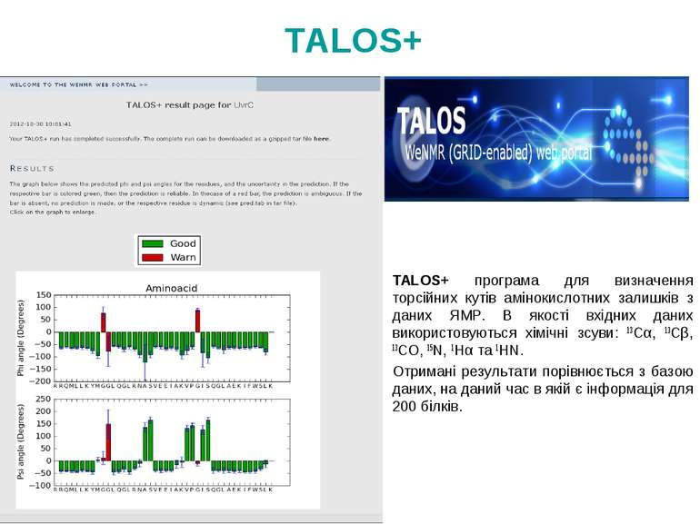 TALOS+ програма для визначення торсійних кутів амінокислотних залишків з дани...