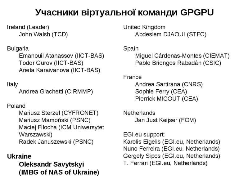Ireland (Leader) John Walsh (TCD) Bulgaria Emanouil Atanassov (IICT-BAS) Todo...