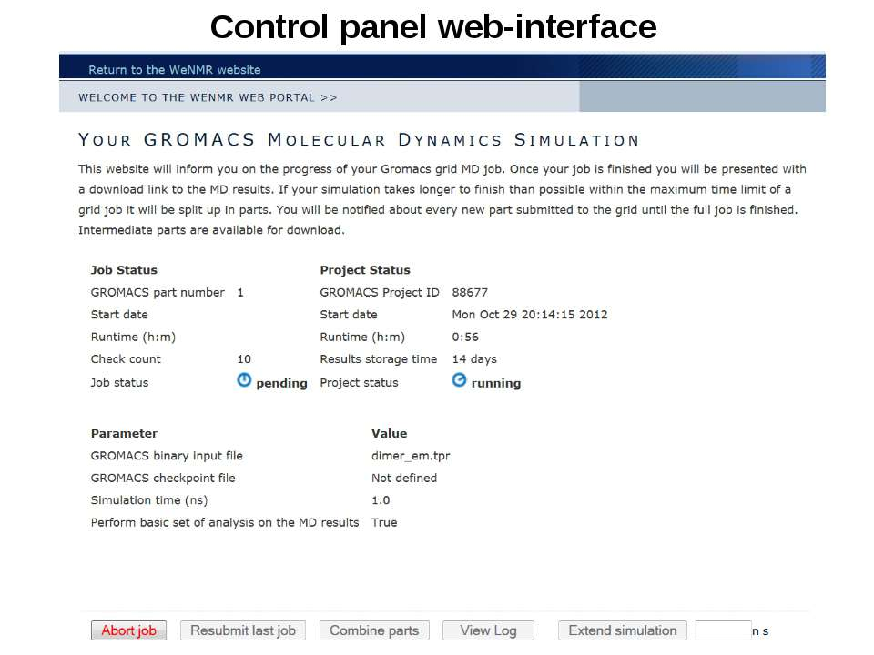 Control panel web-interface