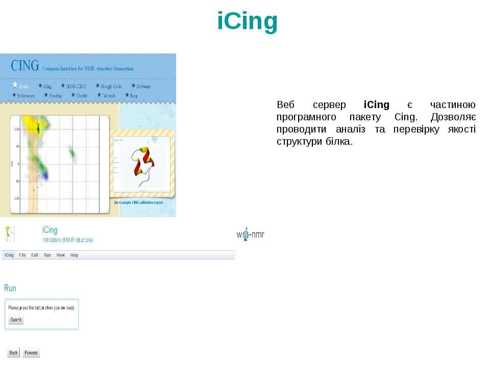 Веб сервер iCing є частиною програмного пакету Cing. Дозволяє проводити аналі...