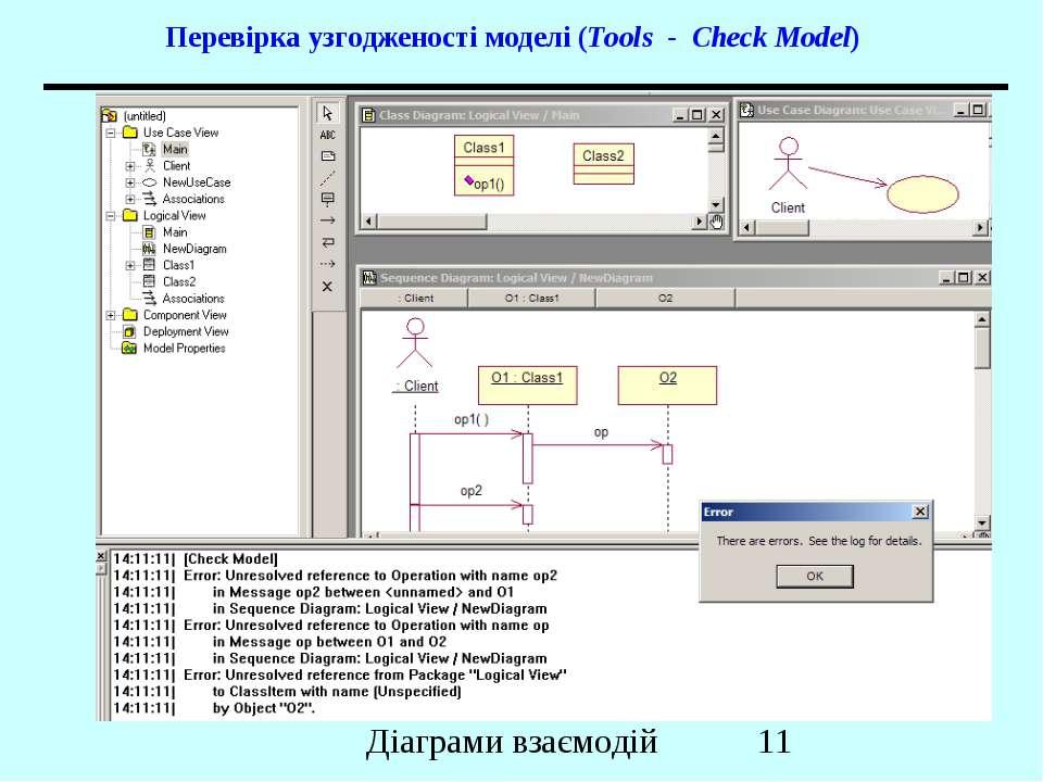 Перевірка узгодженості моделі (Tools - Check Model) Діаграми взаємодій