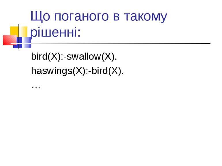 Що поганого в такому рішенні: bird(X):-swallow(X). haswings(X):-bird(X). …